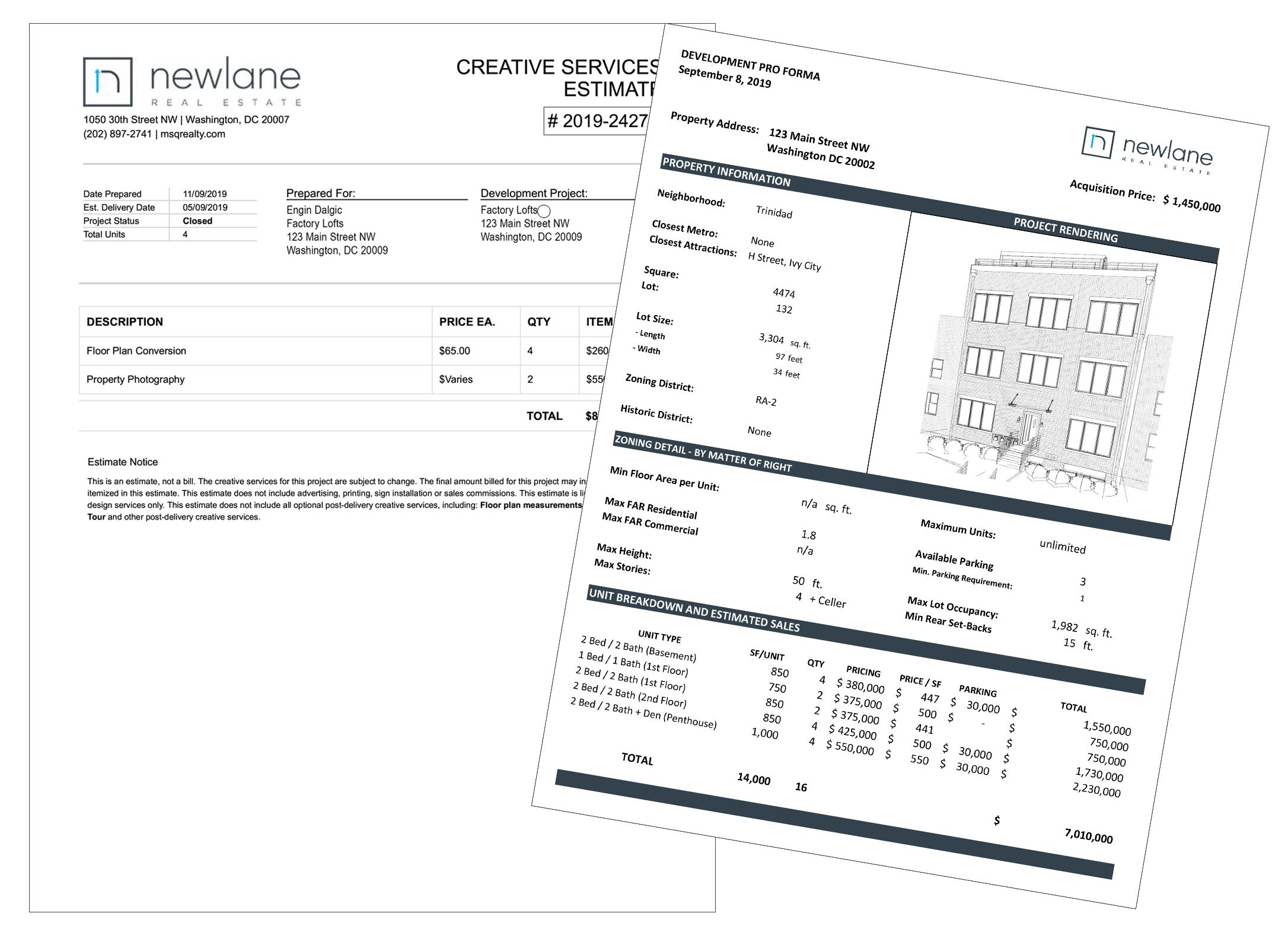 Pro-formas and creative service estimates